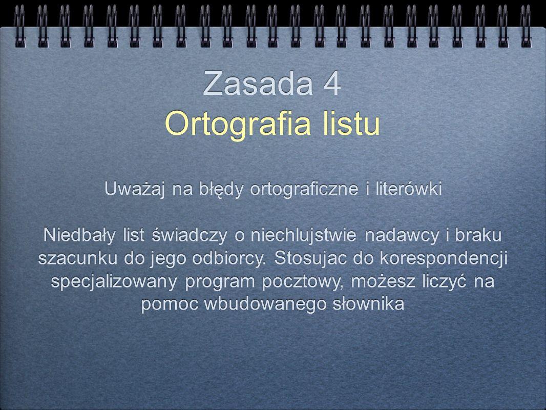 Zasada 4 Ortografia listu