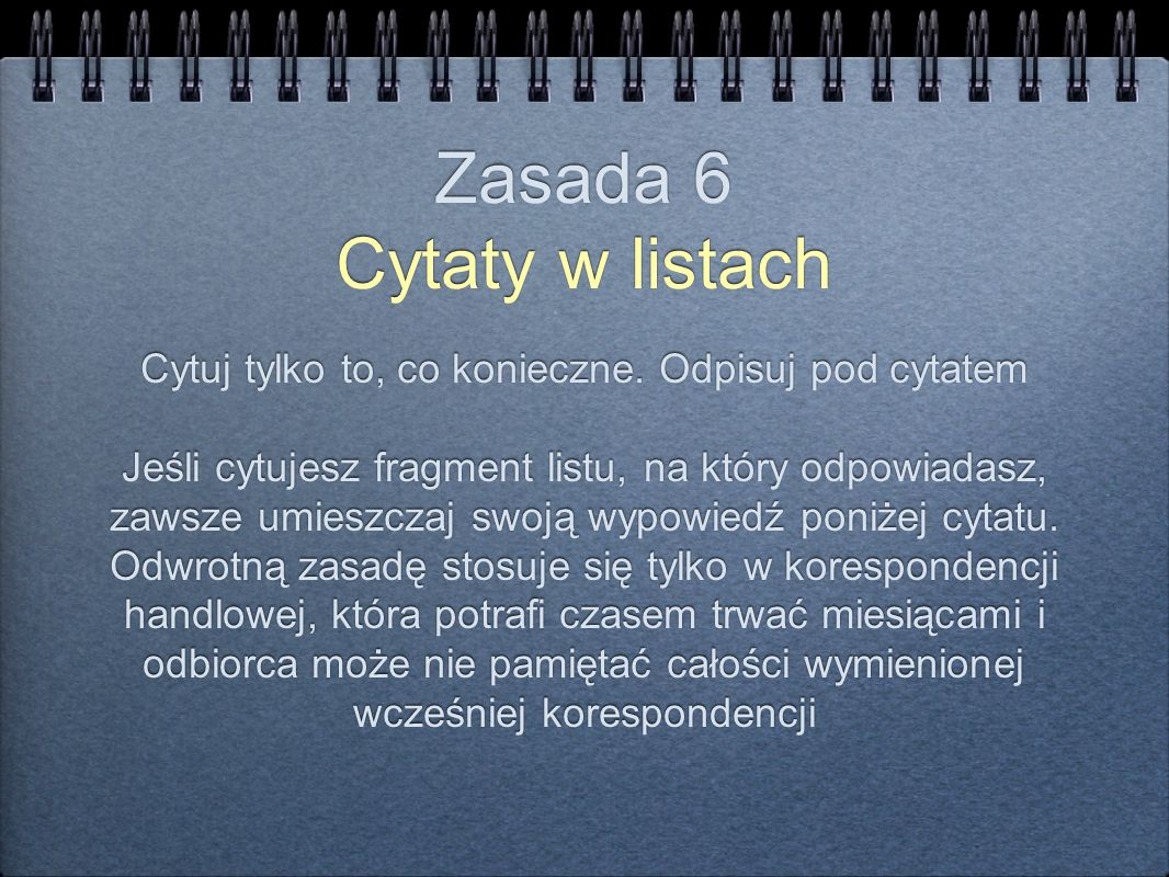 Zasada 6 Cytaty w listach