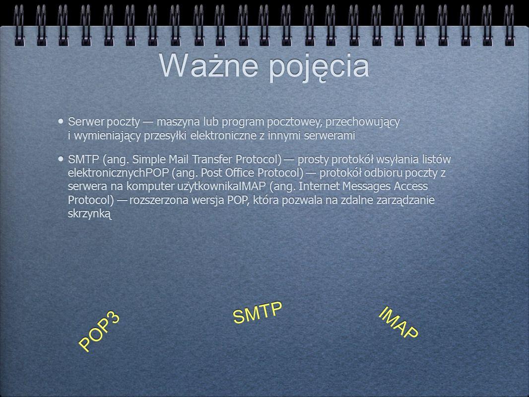 Ważne pojęcia SMTP IMAP POP3