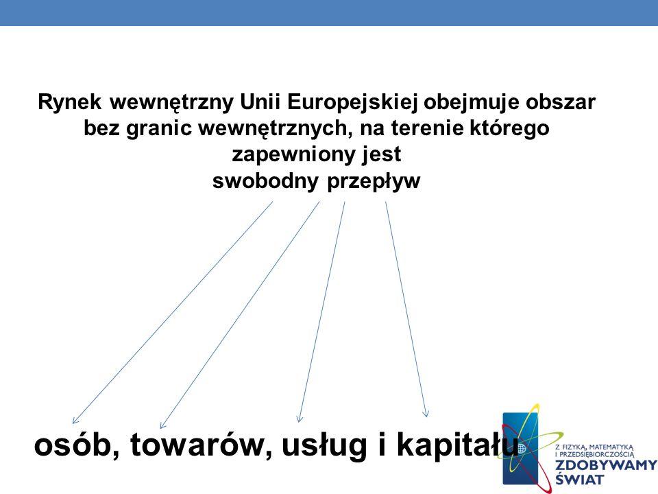 Rynek wewnętrzny Unii Europejskiej obejmuje obszar bez granic wewnętrznych, na terenie którego zapewniony jest swobodny przepływ osób, towarów, usług i kapitału