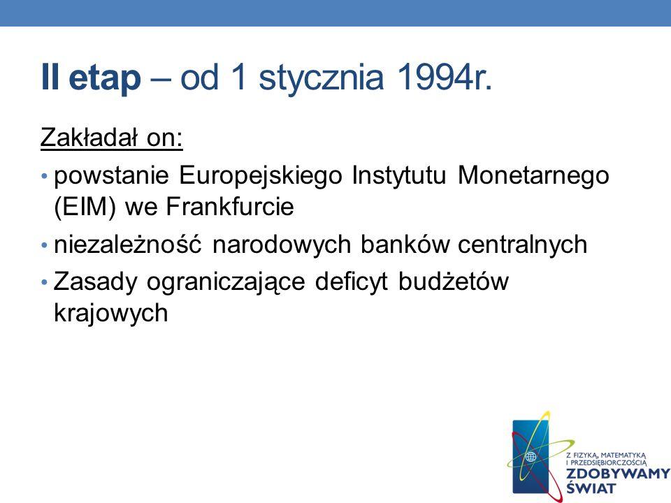 II etap – od 1 stycznia 1994r. Zakładał on: