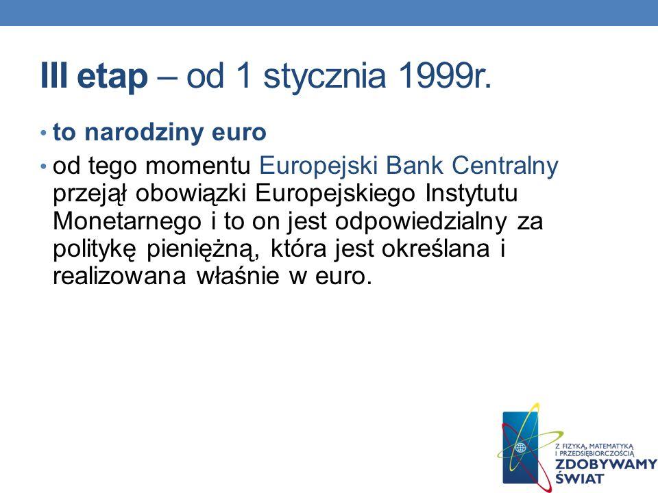 III etap – od 1 stycznia 1999r. to narodziny euro