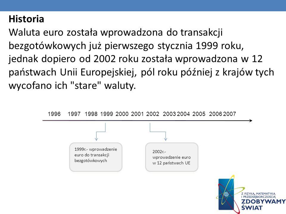 Historia Waluta euro została wprowadzona do transakcji bezgotówkowych już pierwszego stycznia 1999 roku, jednak dopiero od 2002 roku została wprowadzona w 12 państwach Unii Europejskiej, pól roku później z krajów tych wycofano ich stare waluty.