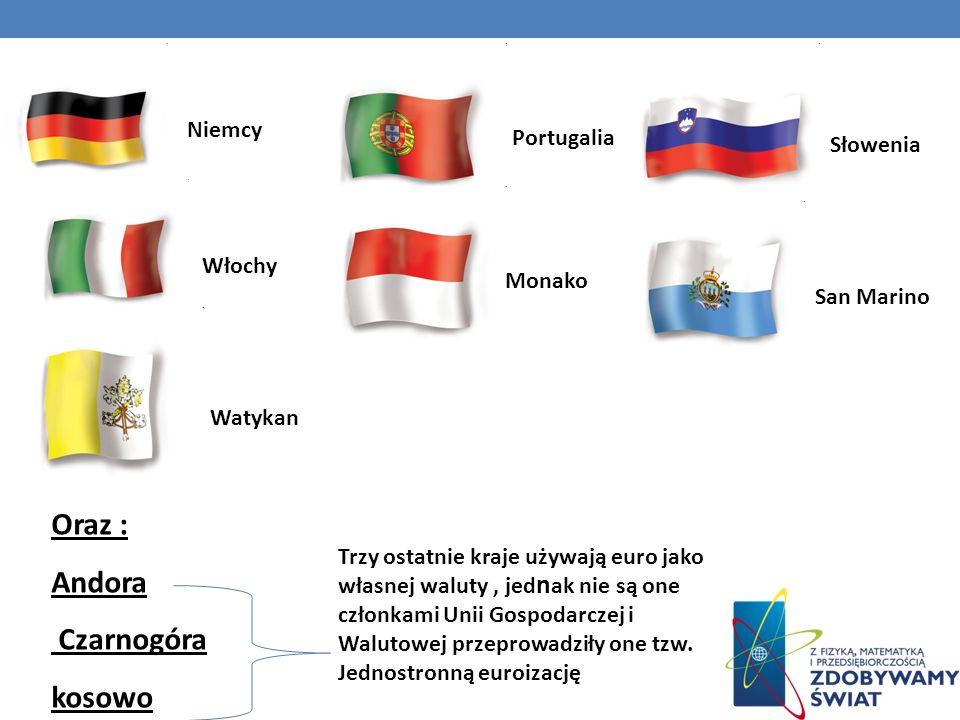 Oraz : Andora Czarnogóra kosowo Niemcy Portugalia Słowenia Włochy