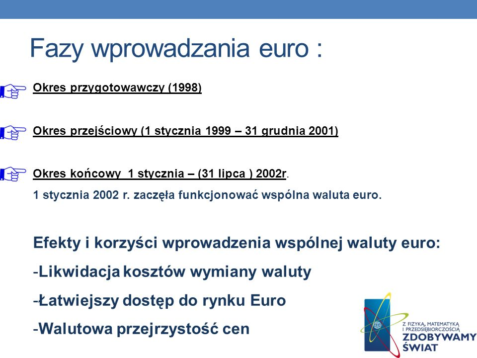 Fazy wprowadzania euro :