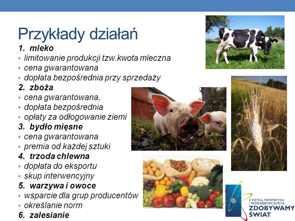 Przykłady działań 1. mleko limitowanie produkcji tzw.kwota mleczna