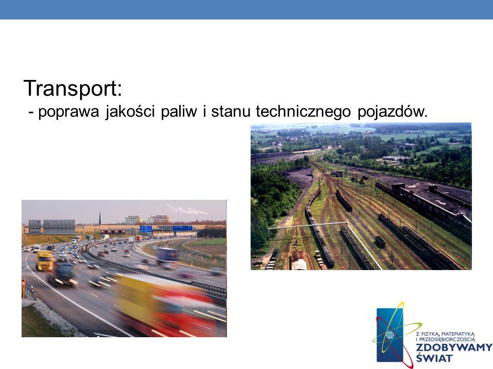 Transport: - poprawa jakości paliw i stanu technicznego pojazdów.