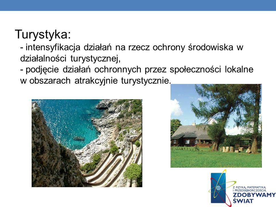 Turystyka: - intensyfikacja działań na rzecz ochrony środowiska w działalności turystycznej, - podjęcie działań ochronnych przez społeczności lokalne w obszarach atrakcyjnie turystycznie.