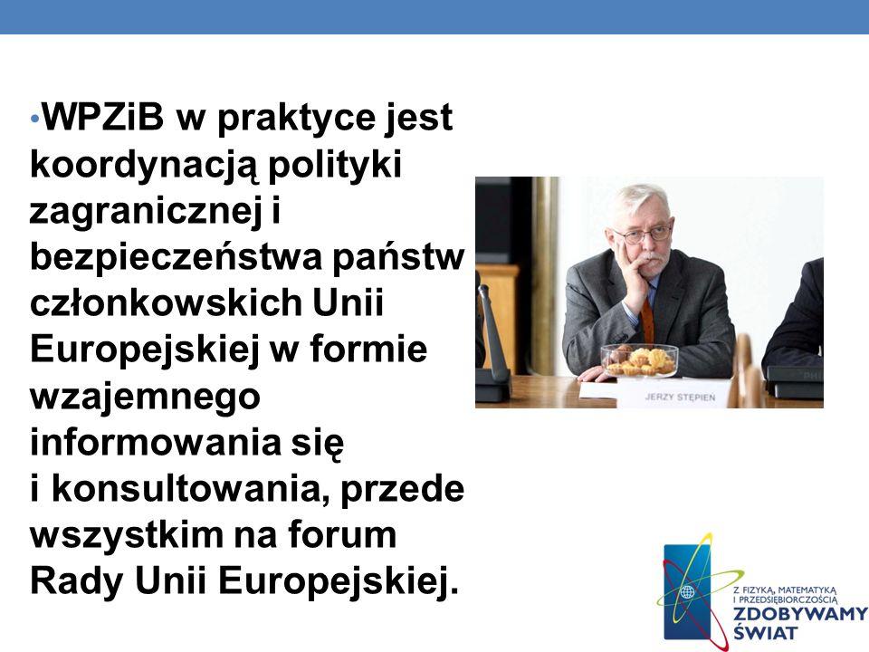 WPZiB w praktyce jest koordynacją polityki zagranicznej i bezpieczeństwa państw członkowskich Unii Europejskiej w formie wzajemnego informowania się i konsultowania, przede wszystkim na forum Rady Unii Europejskiej.