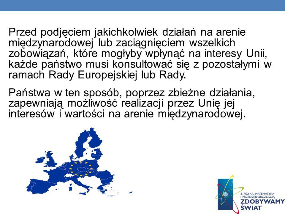 Przed podjęciem jakichkolwiek działań na arenie międzynarodowej lub zaciągnięciem wszelkich zobowiązań, które mogłyby wpłynąć na interesy Unii, każde państwo musi konsultować się z pozostałymi w ramach Rady Europejskiej lub Rady.