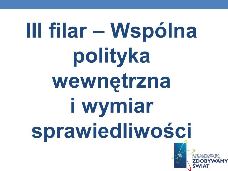 III filar – Wspólna polityka wewnętrzna i wymiar sprawiedliwości