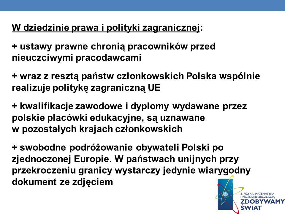 W dziedzinie prawa i polityki zagranicznej: + ustawy prawne chronią pracowników przed nieuczciwymi pracodawcami + wraz z resztą państw członkowskich Polska wspólnie realizuje politykę zagraniczną UE + kwalifikacje zawodowe i dyplomy wydawane przez polskie placówki edukacyjne, są uznawane w pozostałych krajach członkowskich + swobodne podróżowanie obywateli Polski po zjednoczonej Europie.