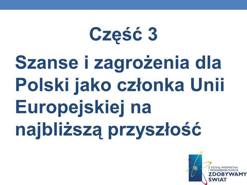 Część 3 Szanse i zagrożenia dla Polski jako członka Unii Europejskiej na najbliższą przyszłość
