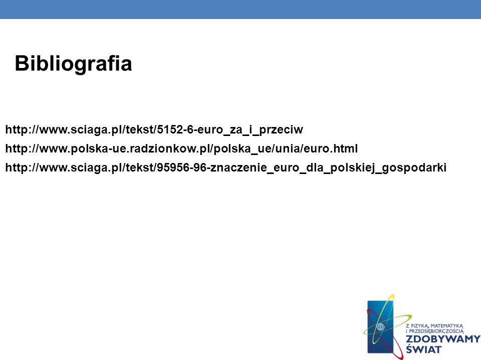 Bibliografia http://www.sciaga.pl/tekst/5152-6-euro_za_i_przeciw