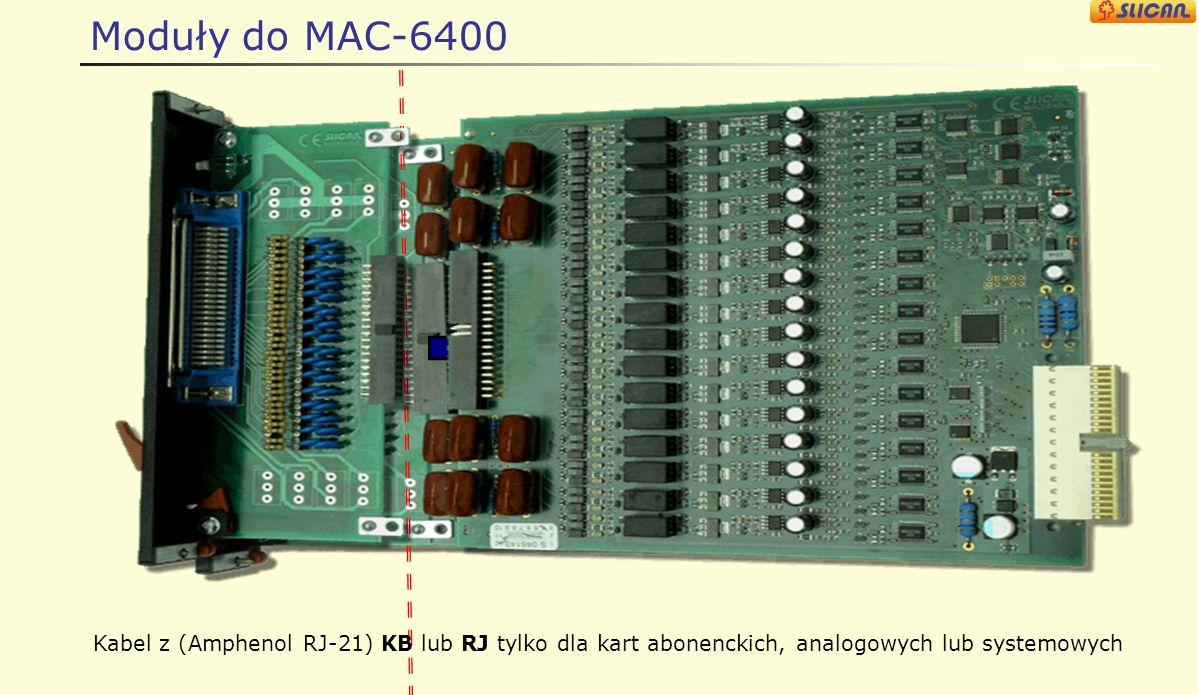 Moduły do MAC-6400 Zmniejsza ilość kabli na ścianę. Wyprowadzenia do tyłu szafy gdzie znajdują się specjalne otwory kablowe.