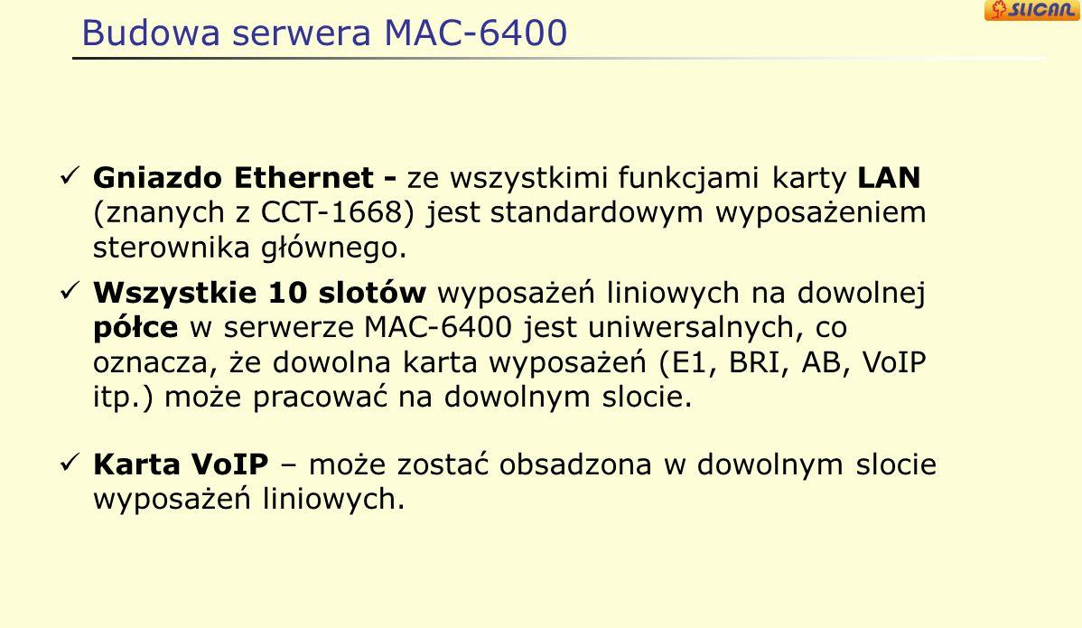 Budowa serwera MAC-6400 Gniazdo Ethernet - ze wszystkimi funkcjami karty LAN (znanych z CCT-1668) jest standardowym wyposażeniem sterownika głównego.