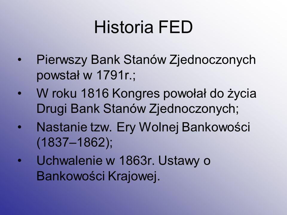Historia FED Pierwszy Bank Stanów Zjednoczonych powstał w 1791r.;