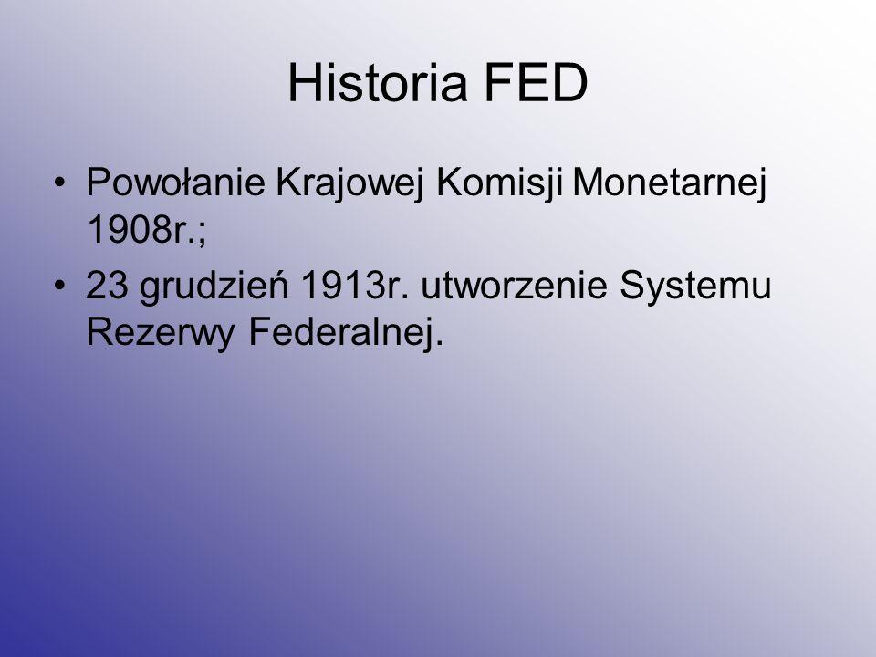 Historia FED Powołanie Krajowej Komisji Monetarnej 1908r.;
