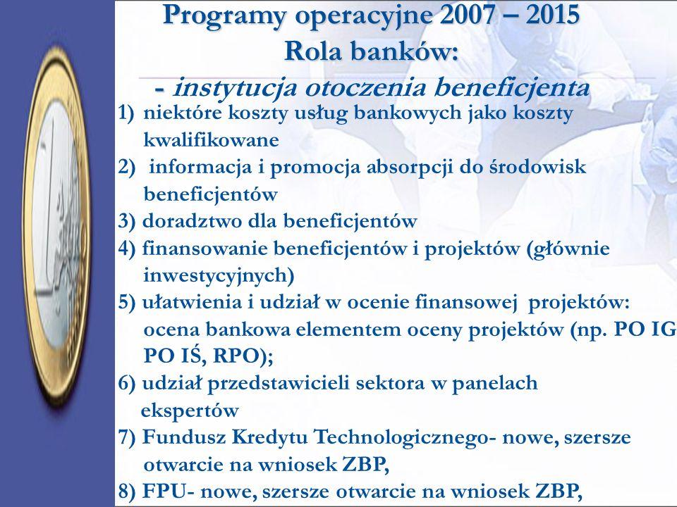 Programy operacyjne 2007 – 2015 Rola banków: - instytucja otoczenia beneficjenta