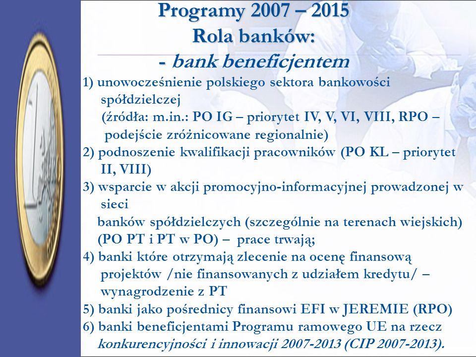 Programy 2007 – 2015 Rola banków: - bank beneficjentem