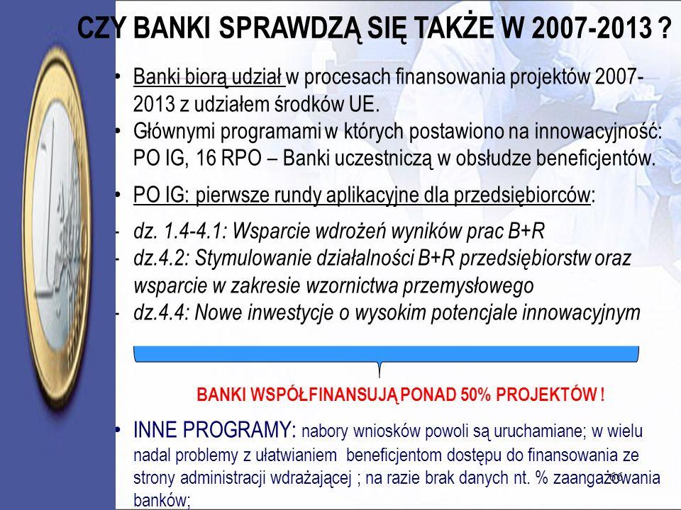 CZY BANKI SPRAWDZĄ SIĘ TAKŻE W 2007-2013