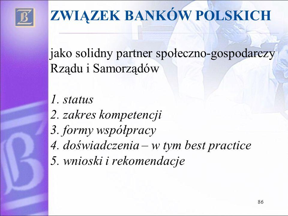 ZWIĄZEK BANKÓW POLSKICH jako solidny partner społeczno-gospodarczy Rządu i Samorządów 1.