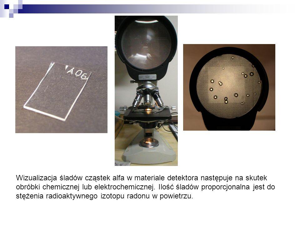 Wizualizacja śladów cząstek alfa w materiale detektora następuje na skutek obróbki chemicznej lub elektrochemicznej.