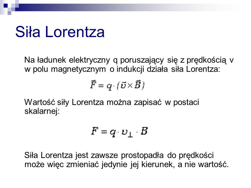 Siła Lorentza Na ładunek elektryczny q poruszający się z prędkością v w polu magnetycznym o indukcji działa siła Lorentza: