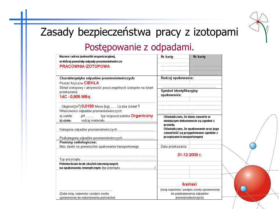 Zasady bezpieczeństwa pracy z izotopami
