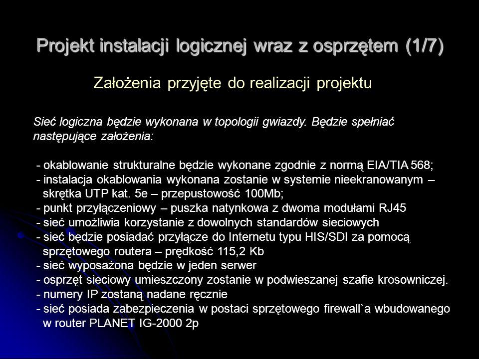 Projekt instalacji logicznej wraz z osprzętem (1/7)