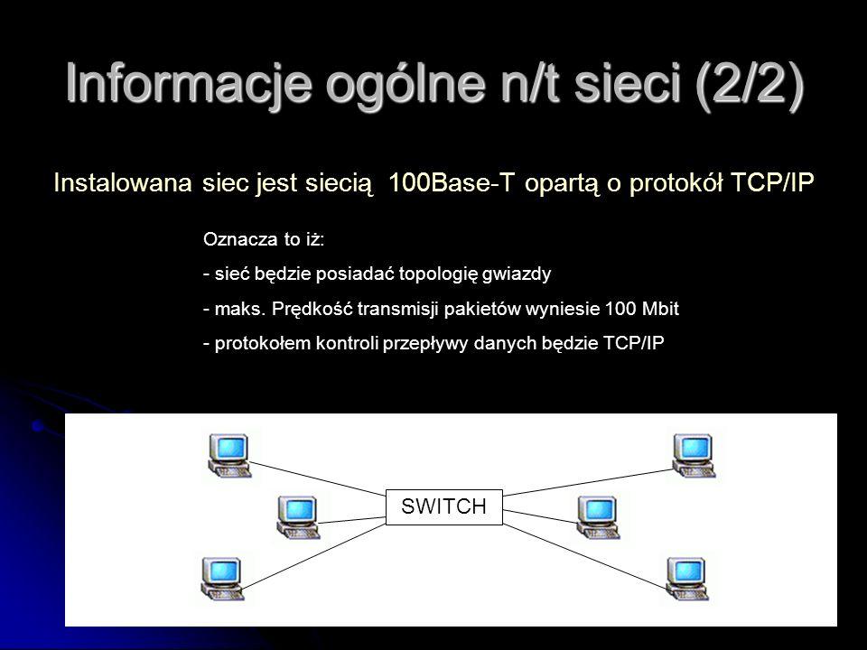 Informacje ogólne n/t sieci (2/2)