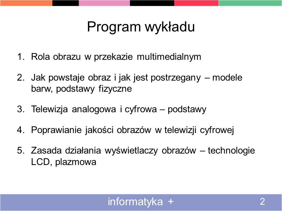 Program wykładu informatyka + Rola obrazu w przekazie multimedialnym