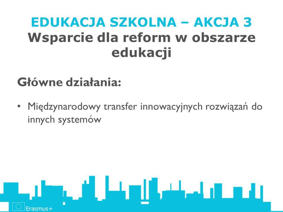 EDUKACJA SZKOLNA – AKCJA 3 Wsparcie dla reform w obszarze edukacji