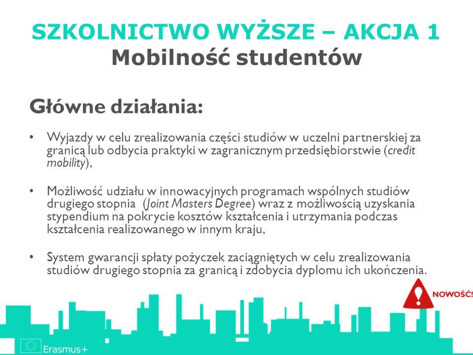 SZKOLNICTWO WYŻSZE – AKCJA 1 Mobilność studentów