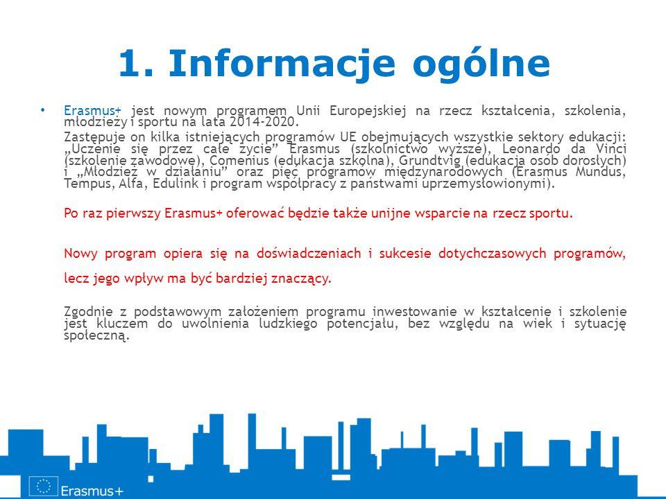 1. Informacje ogólneErasmus+ jest nowym programem Unii Europejskiej na rzecz kształcenia, szkolenia, młodzieży i sportu na lata 2014-2020.