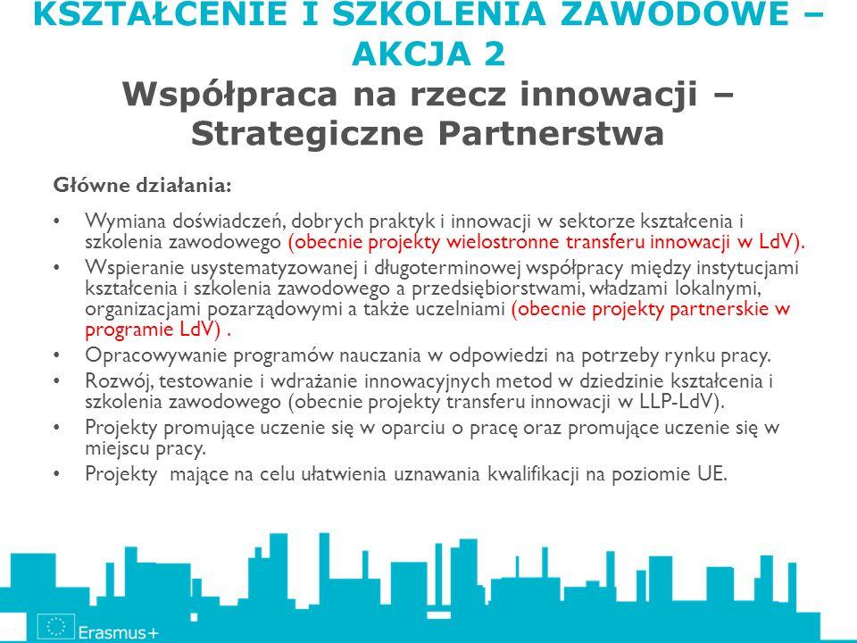 KSZTAŁCENIE I SZKOLENIA ZAWODOWE – AKCJA 2 Współpraca na rzecz innowacji – Strategiczne Partnerstwa