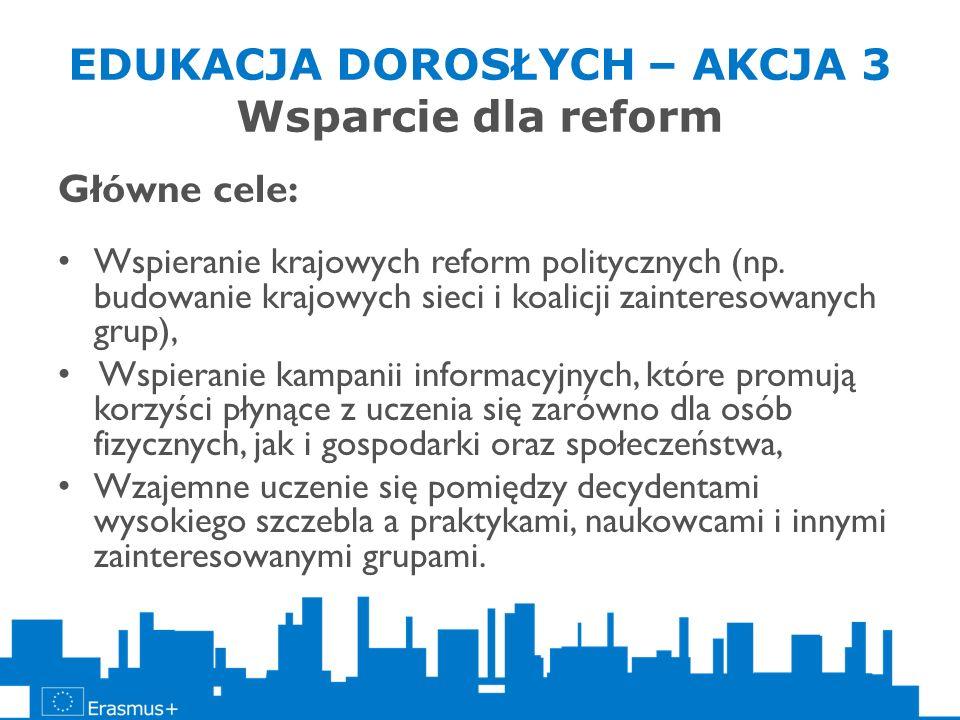 EDUKACJA DOROSŁYCH – AKCJA 3 Wsparcie dla reform