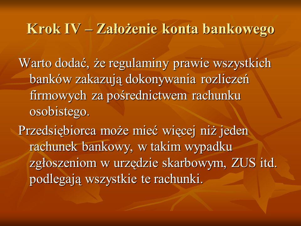 Krok IV – Założenie konta bankowego