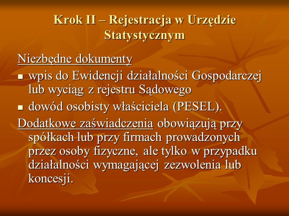 Krok II – Rejestracja w Urzędzie Statystycznym