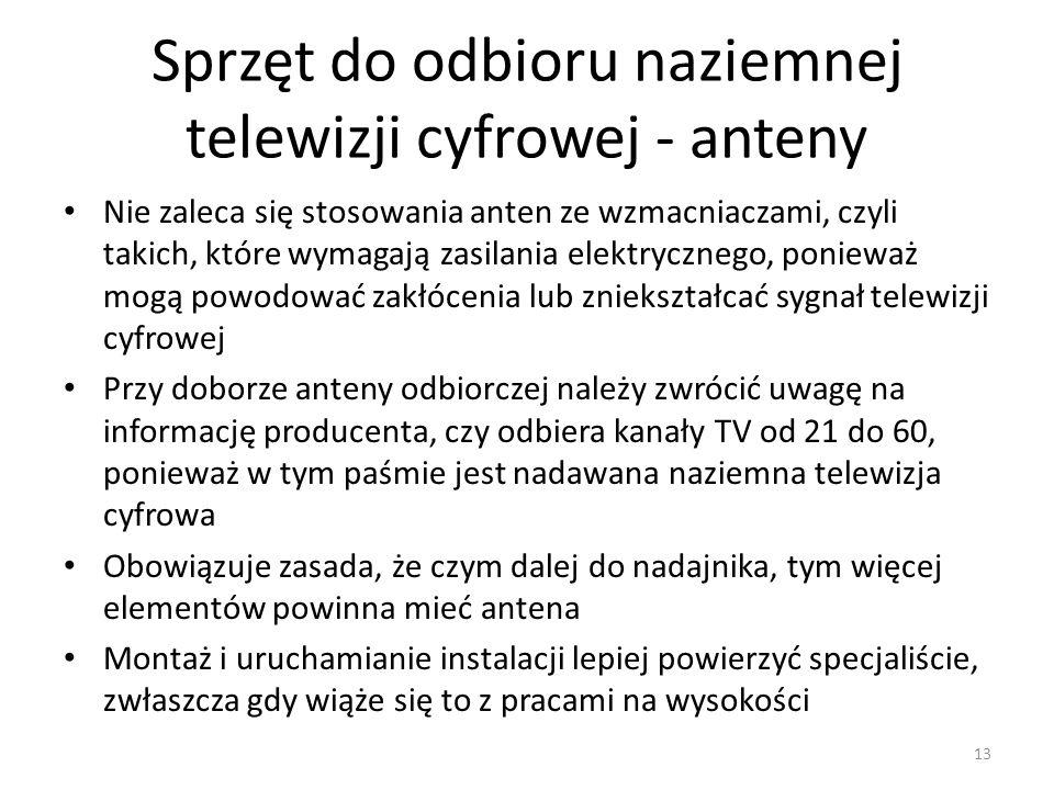 Sprzęt do odbioru naziemnej telewizji cyfrowej - anteny