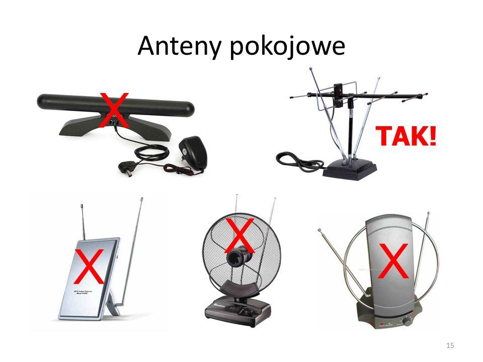 Anteny pokojowe X TAK! X X X 15