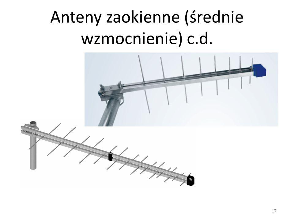 Anteny zaokienne (średnie wzmocnienie) c.d.
