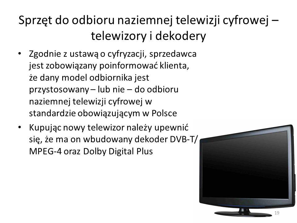 Sprzęt do odbioru naziemnej telewizji cyfrowej – telewizory i dekodery