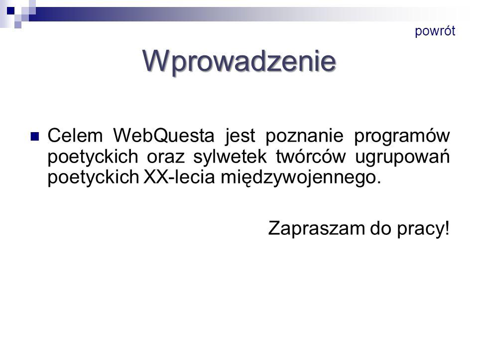 powrót Wprowadzenie. Celem WebQuesta jest poznanie programów poetyckich oraz sylwetek twórców ugrupowań poetyckich XX-lecia międzywojennego.