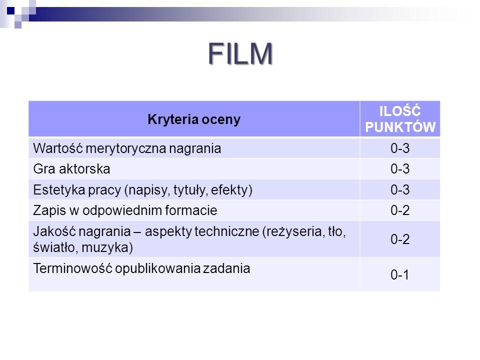 FILM Kryteria oceny ILOŚĆ PUNKTÓW Wartość merytoryczna nagrania 0-3