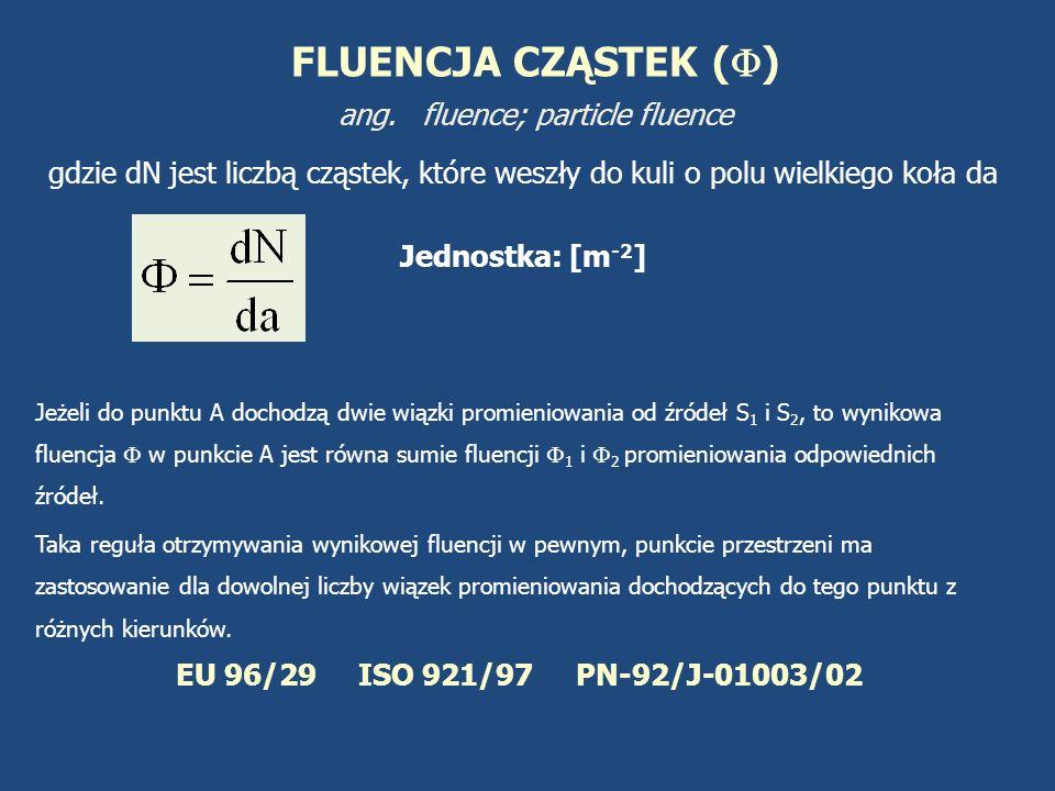FLUENCJA CZĄSTEK () ang. fluence; particle fluence