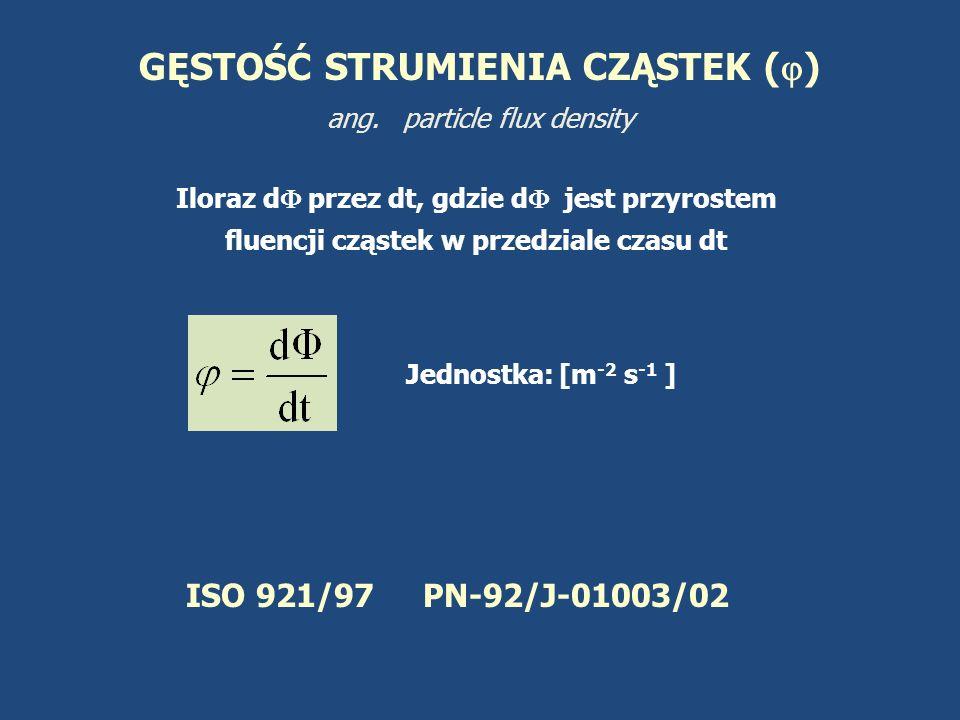 GĘSTOŚĆ STRUMIENIA CZĄSTEK () ang. particle flux density