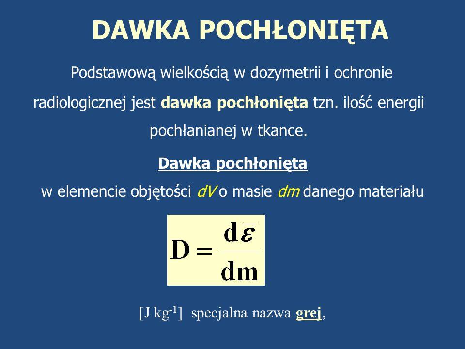 DAWKA POCHŁONIĘTA Podstawową wielkością w dozymetrii i ochronie radiologicznej jest dawka pochłonięta tzn. ilość energii pochłanianej w tkance.
