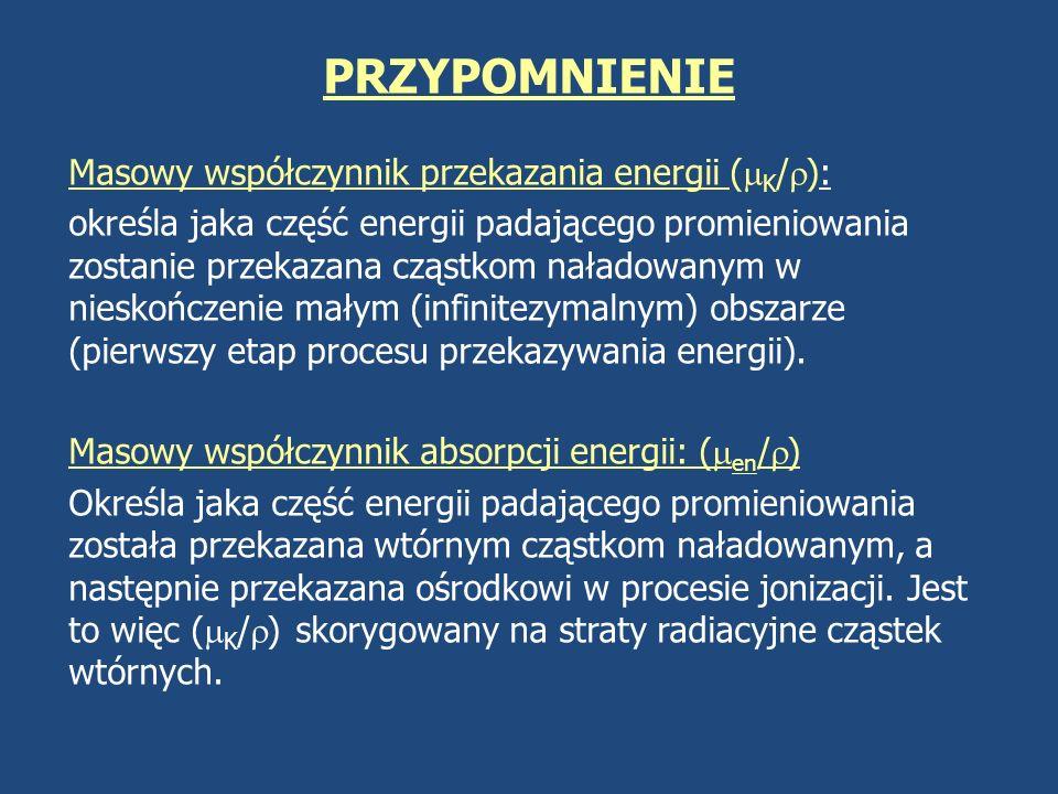 PRZYPOMNIENIE Masowy współczynnik przekazania energii (K/):