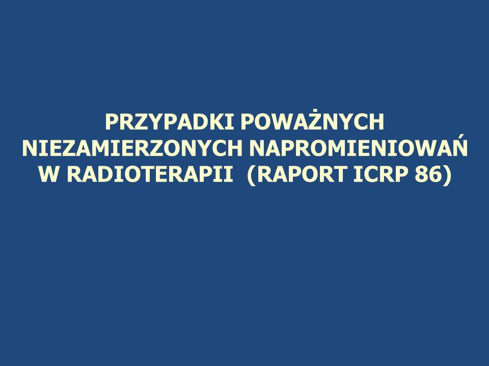 PRZYPADKI POWAŻNYCH NIEZAMIERZONYCH NAPROMIENIOWAŃ W RADIOTERAPII (RAPORT ICRP 86)